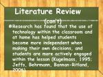 literature review con t