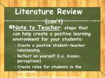 literature review con t7