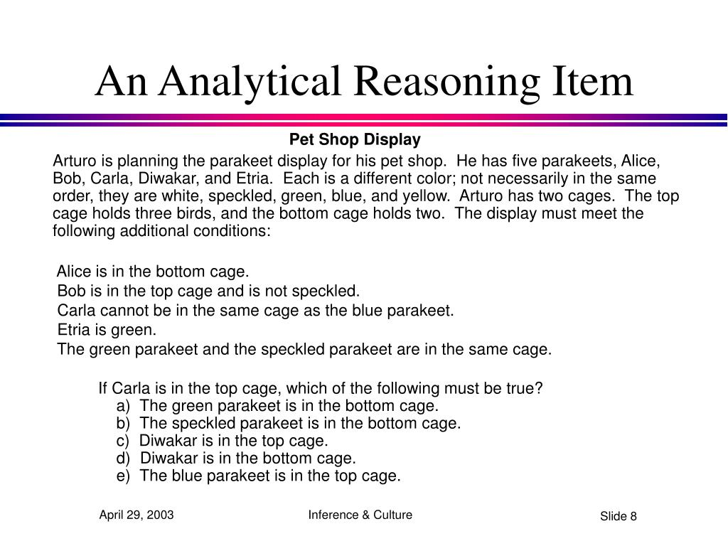 An Analytical Reasoning Item