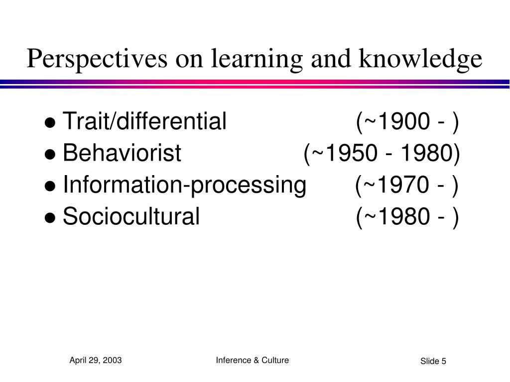 Perspectives on learning and knowledge