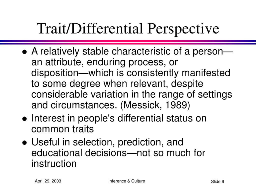 Trait/Differential Perspective