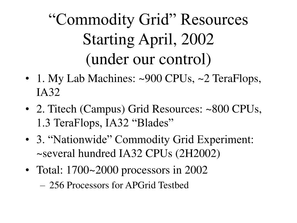 """""""Commodity Grid"""" Resources Starting April, 2002"""