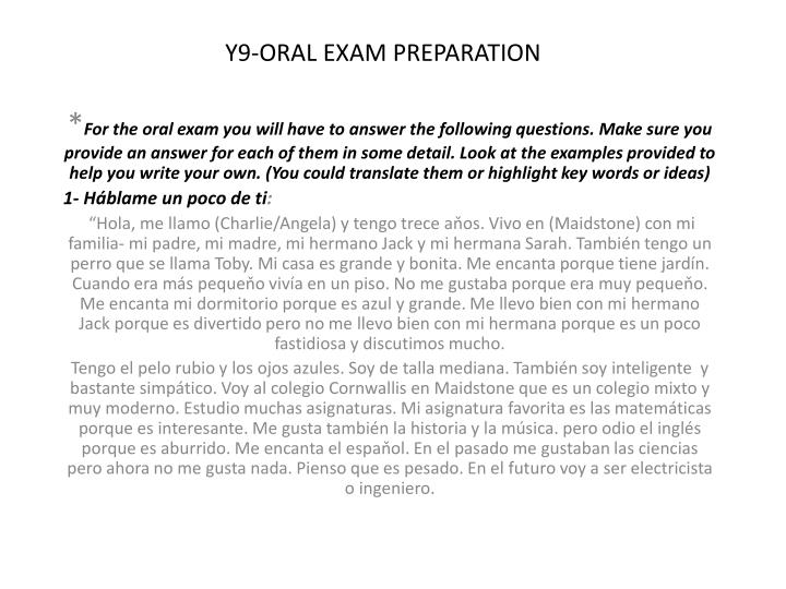 Y9 oral exam preparation