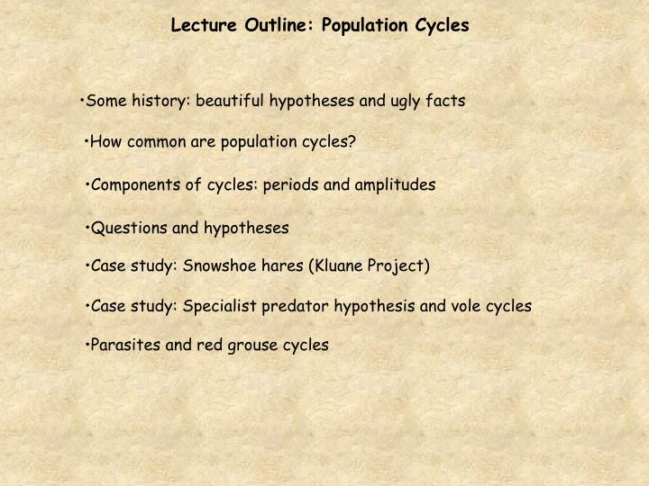 Lecture Outline: Population Cycles