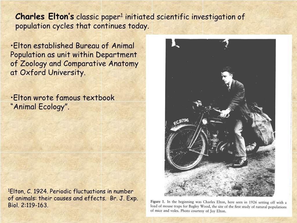 Elton established Bureau of Animal Population as unit within Department of Zoology and Comparative Anatomy at Oxford University.
