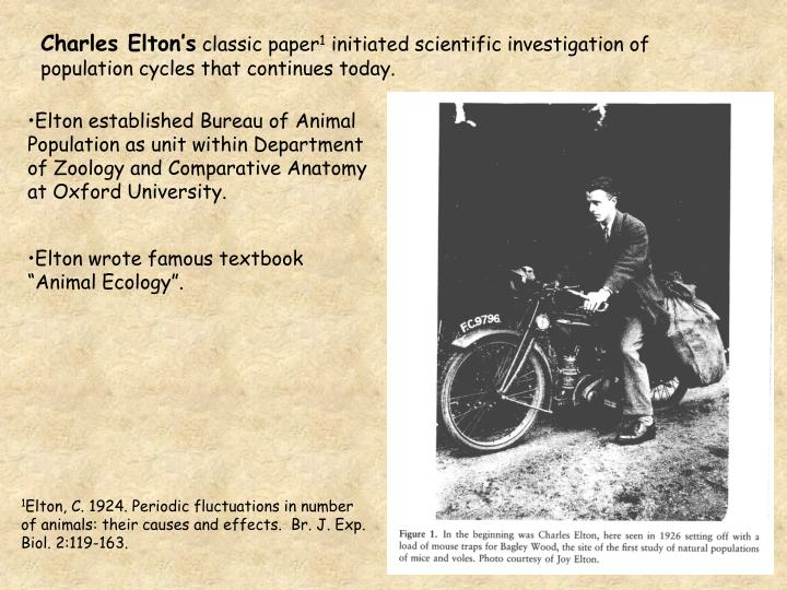 Elton established Bureau of Animal Population as unit within Department of Zoology and Comparative A...