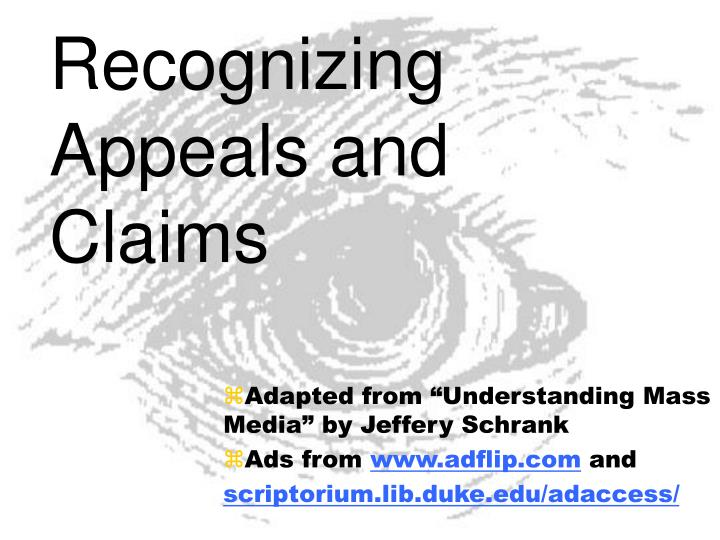 Recognizing appeals and claims l.jpg