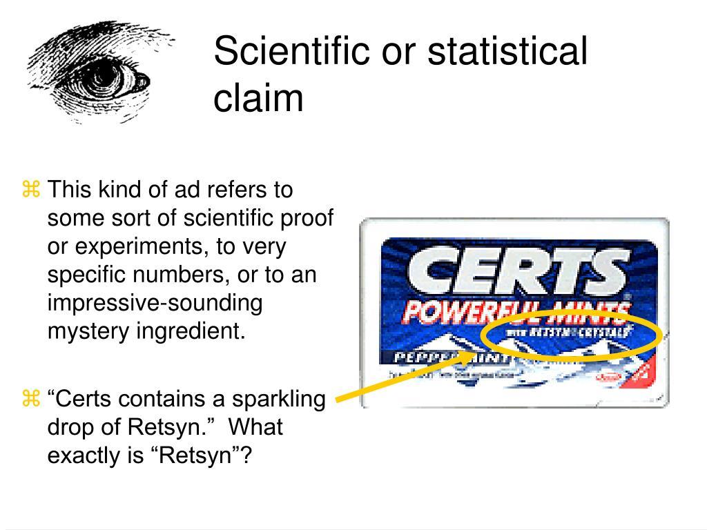 Scientific or statistical claim