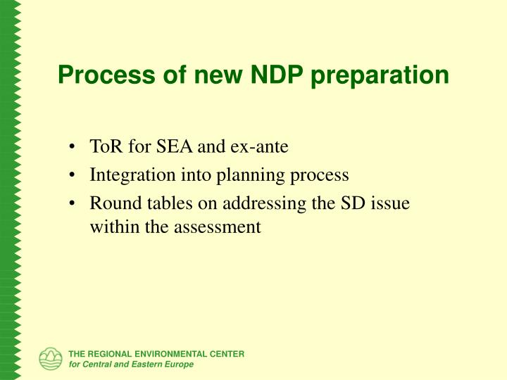 Process of new NDP preparation