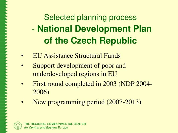 Selected planning process national development plan of the czech republic