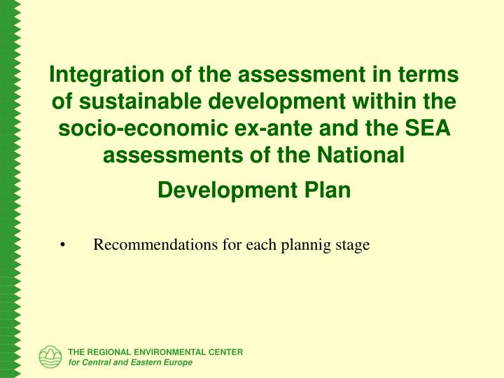 Integration of the assessment in terms