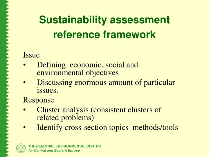 Sustainability assessment reference framework