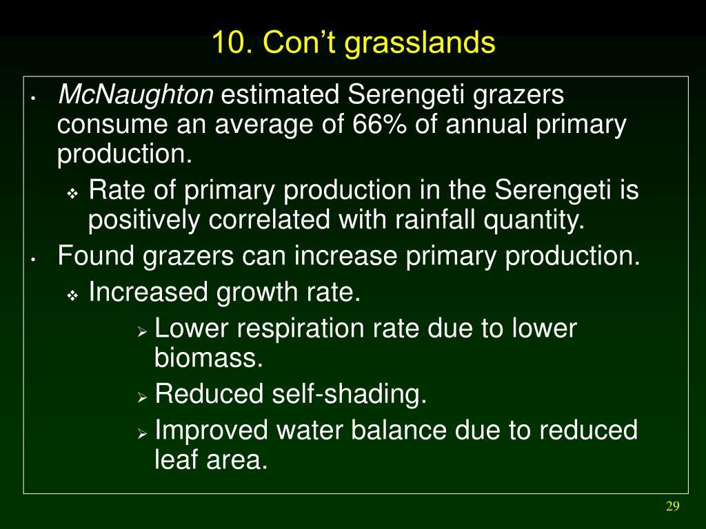 10. Con't grasslands