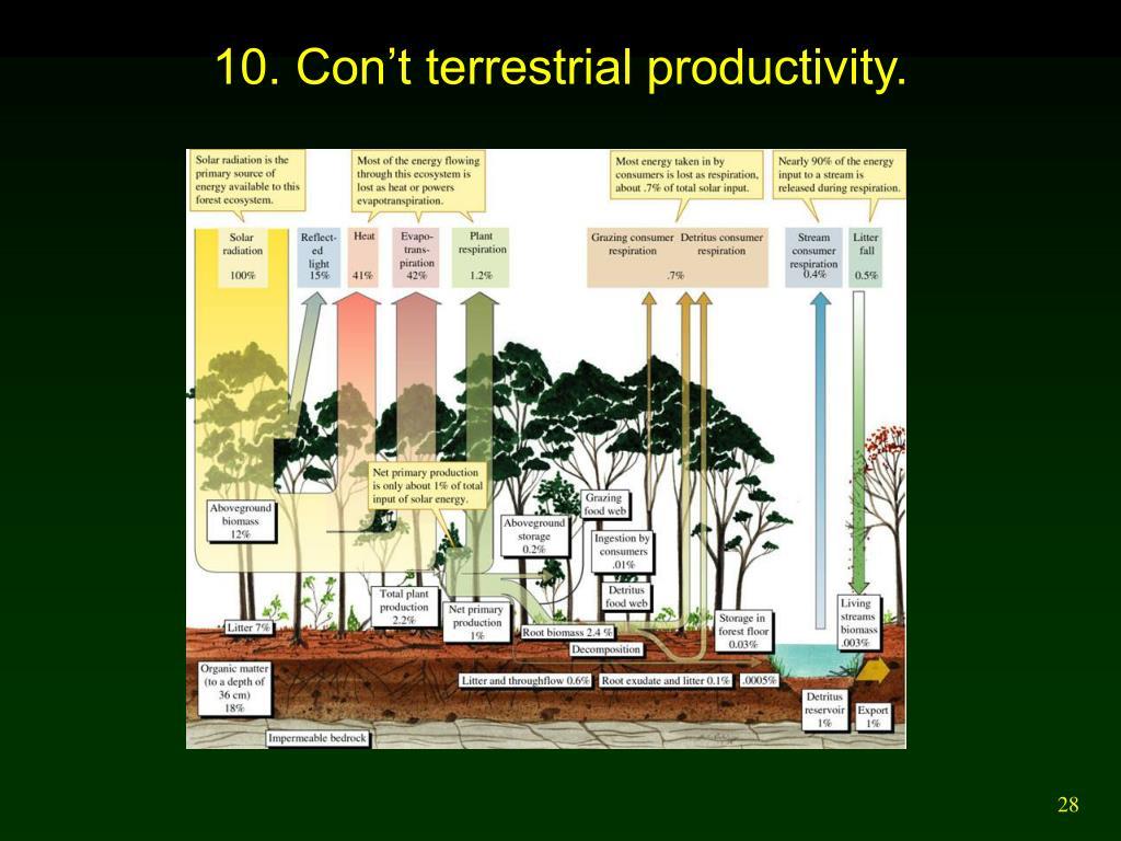 10. Con't terrestrial productivity.