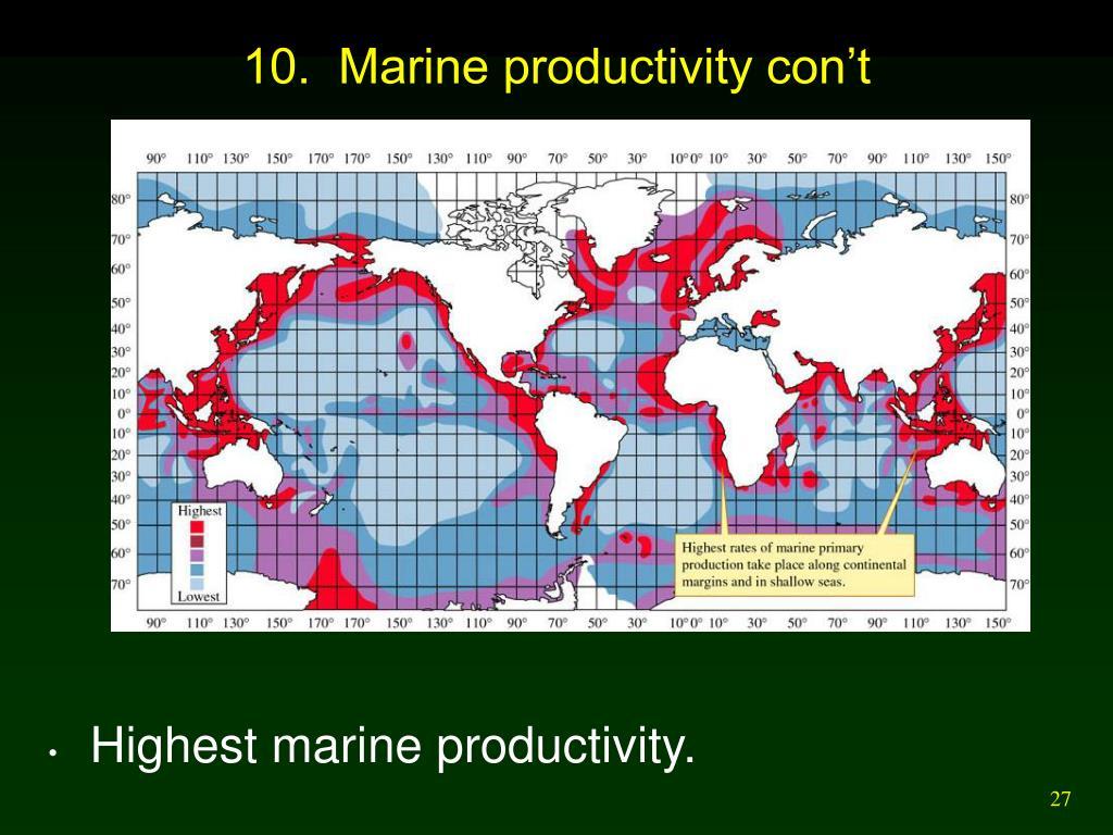10.  Marine productivity con't