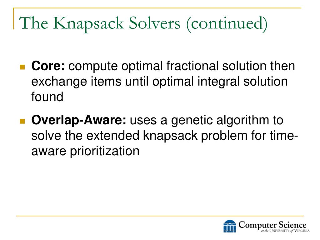 The Knapsack Solvers (continued)