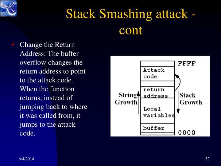 Stack Smashing attack - cont