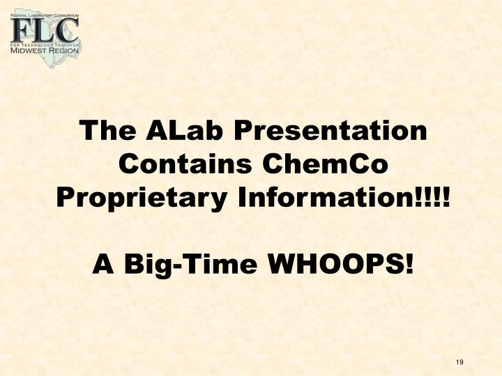 The ALab Presentation Contains ChemCo Proprietary Information!!!!