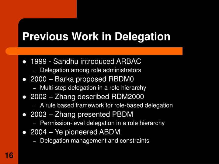 Previous Work in Delegation