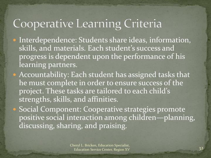 Cooperative Learning Criteria