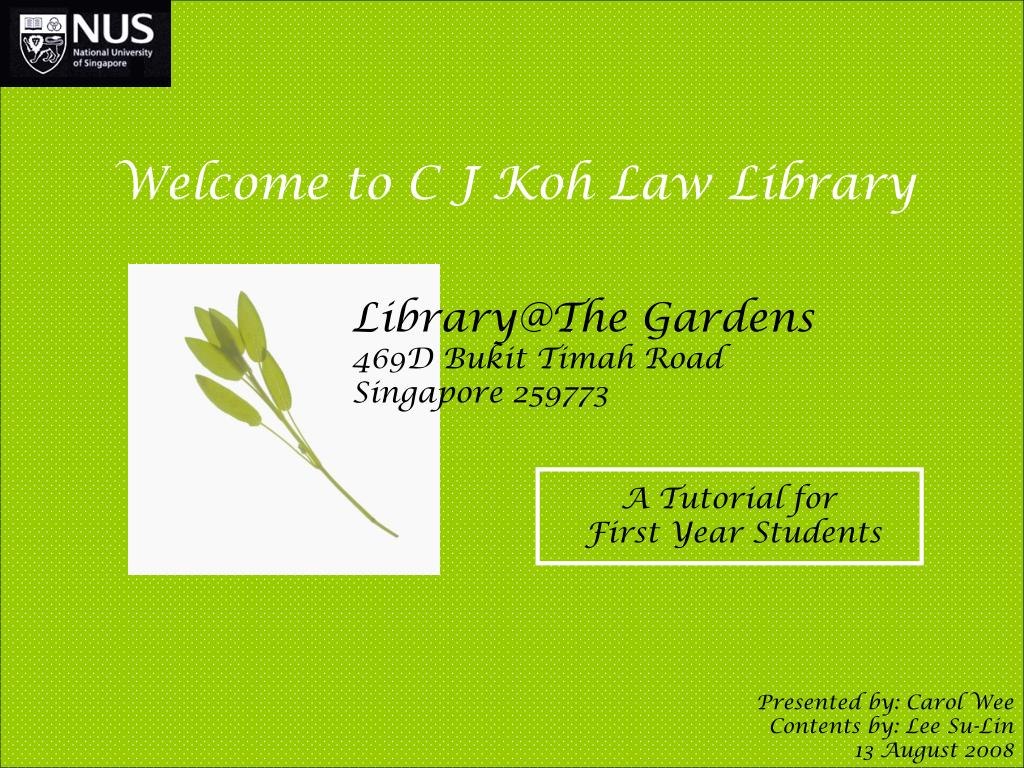 Welcome to C J Koh Law Library