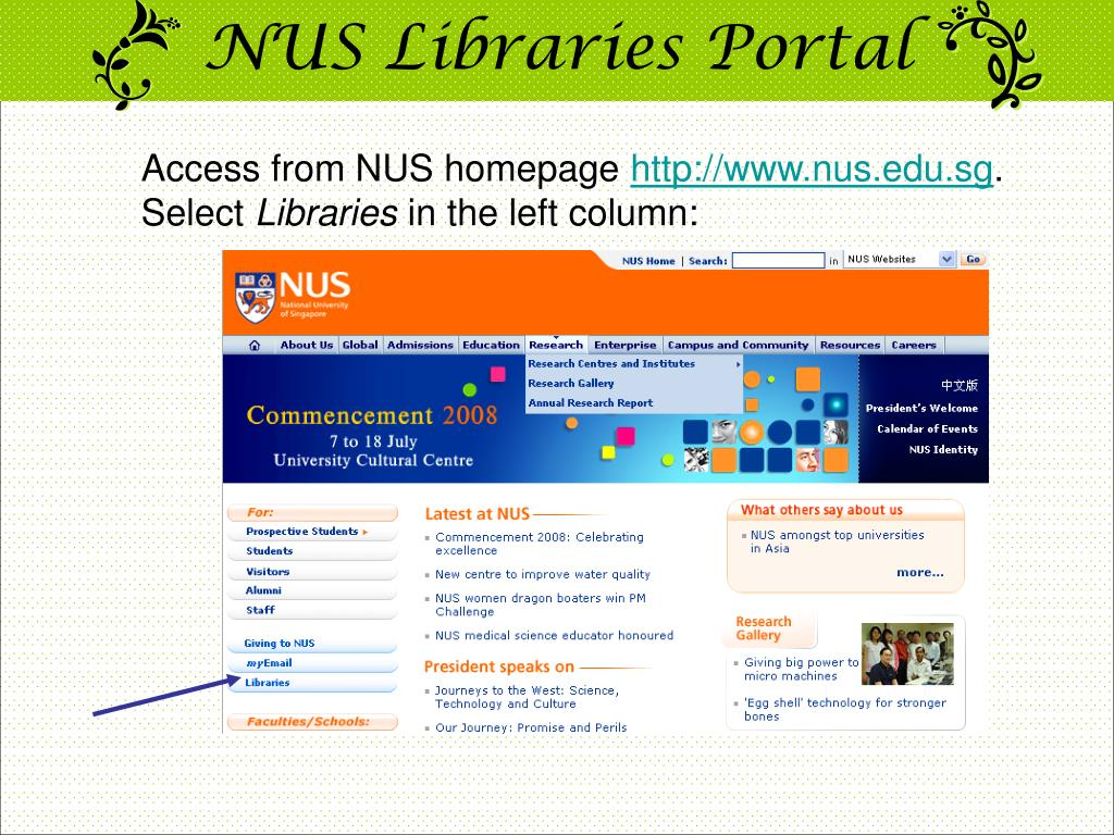 NUS Libraries Portal