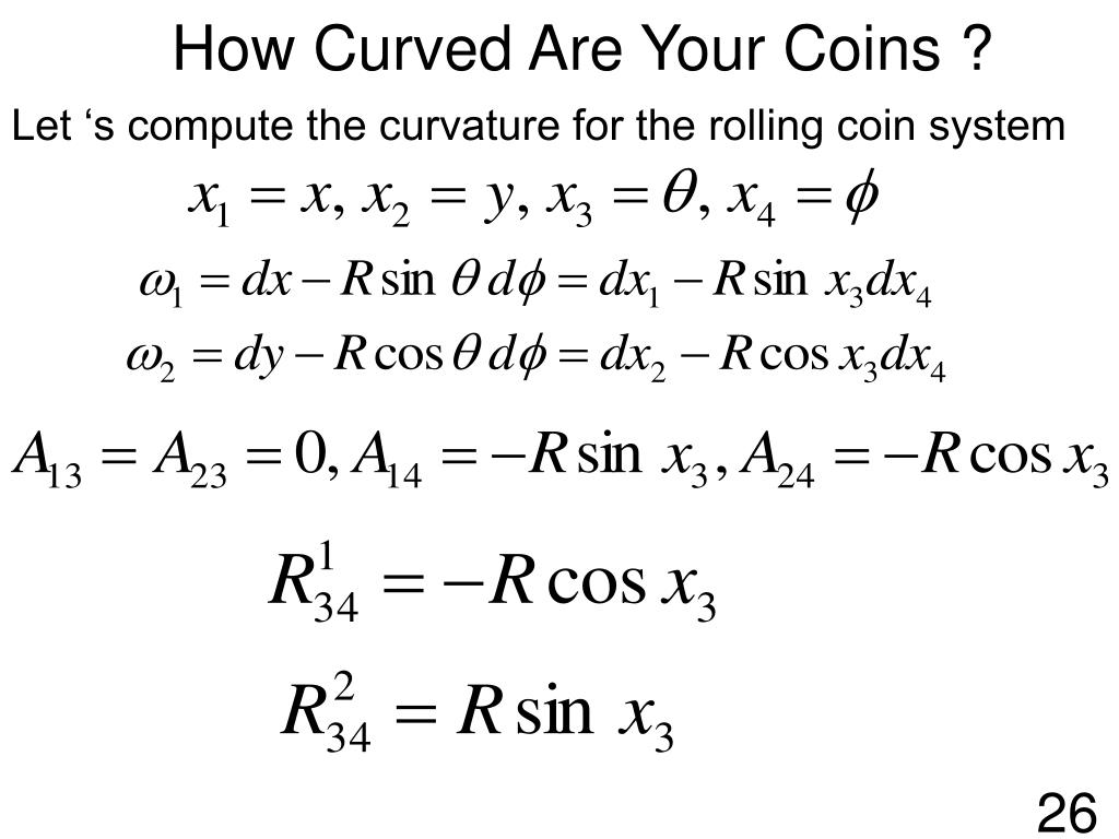 Let 's compute the curvature for the rolling coin system