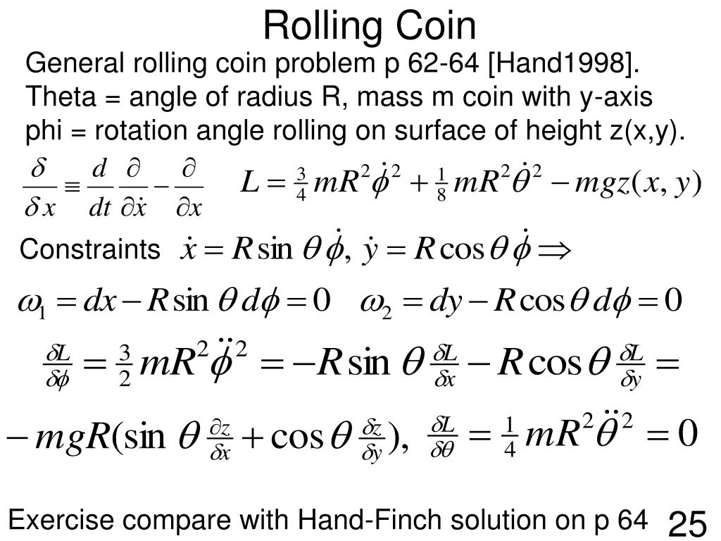 General rolling coin problem p 62-64 [Hand1998].