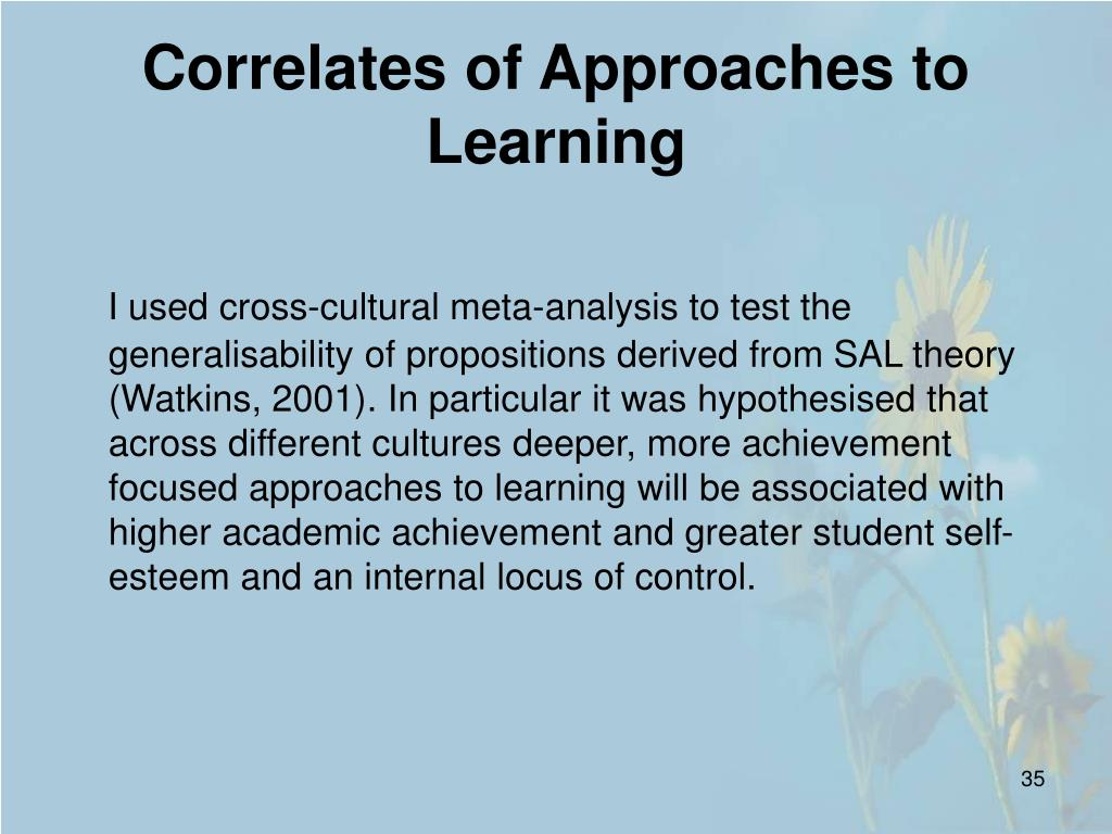 Correlates of Approaches to Learning