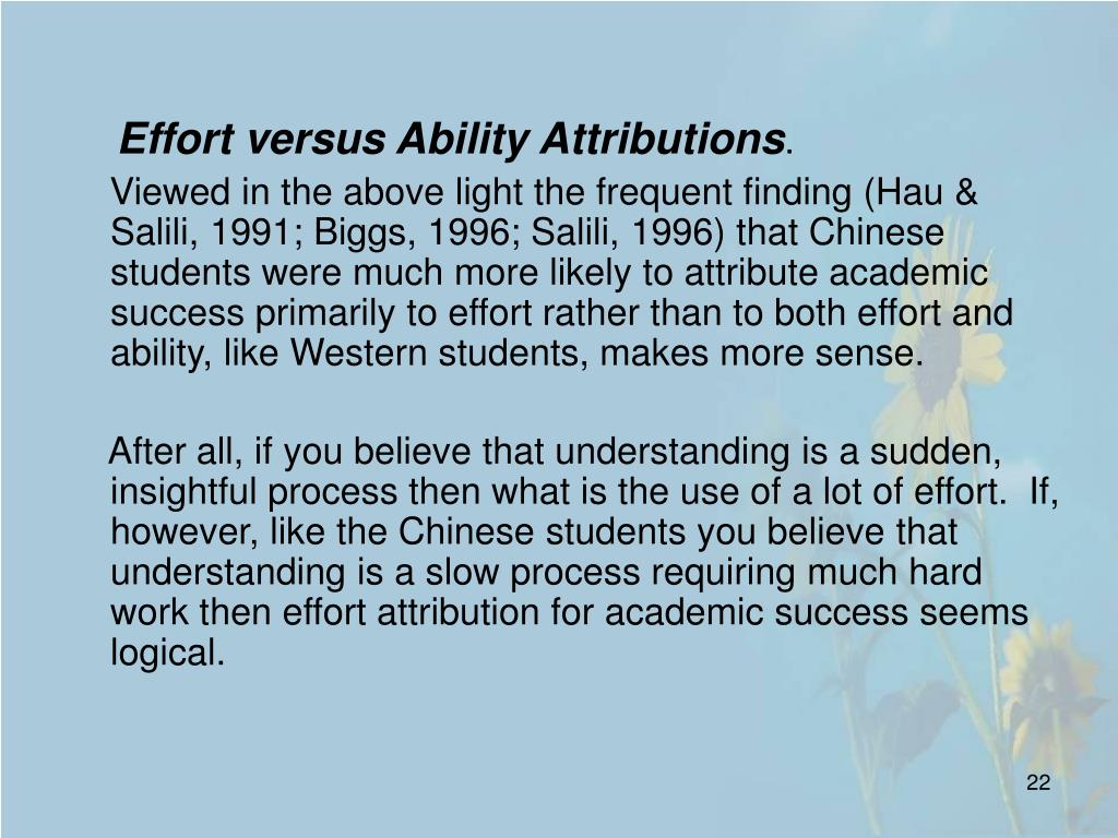 Effort versus Ability Attributions