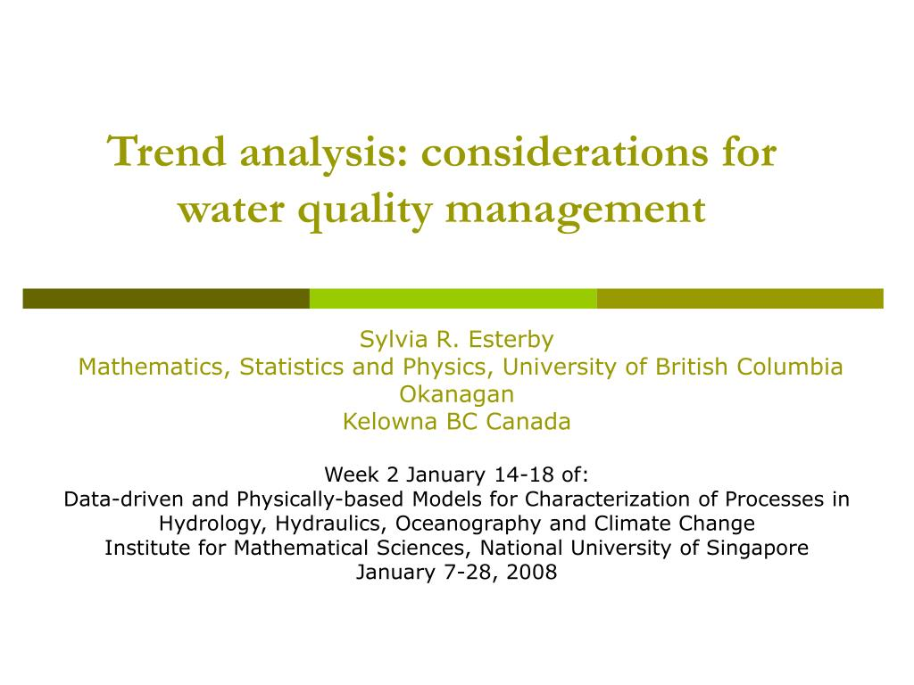 Trend analysis: considerations for water quality management