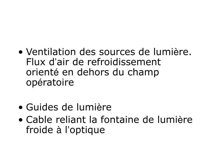 Ventilation des sources de lumi