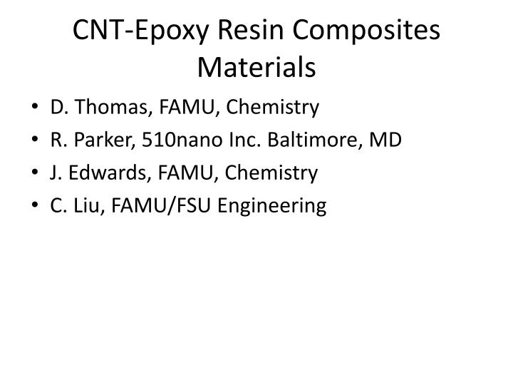 CNT-Epoxy Resin Composites Materials