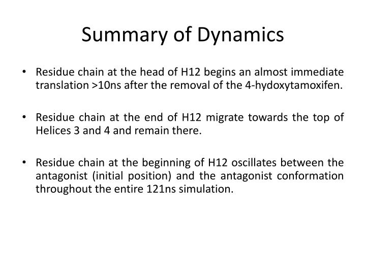 Summary of Dynamics