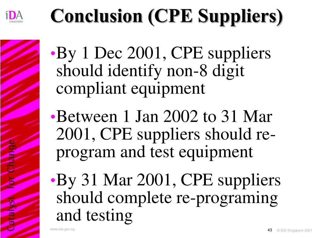 Conclusion (CPE Suppliers)