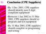 conclusion cpe suppliers