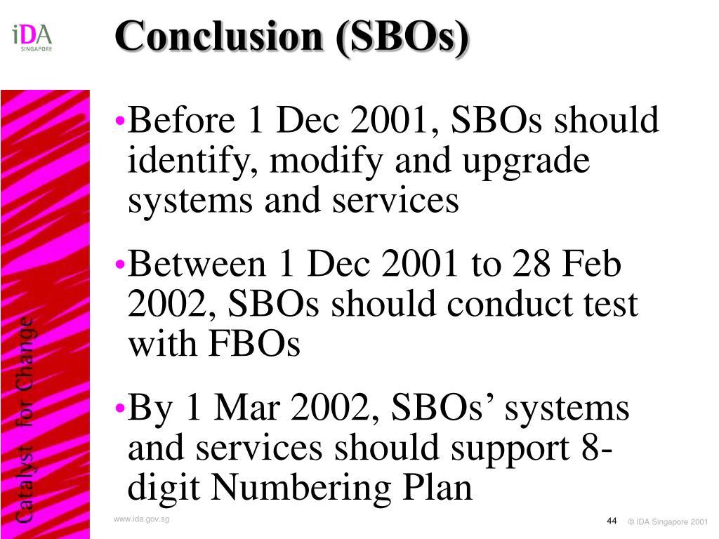 Conclusion (SBOs)