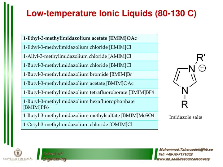Low-temperature Ionic Liquids (80-130 C)