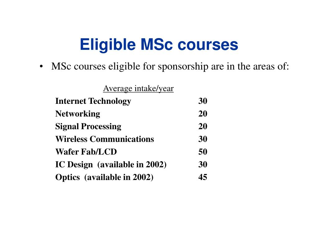 Eligible MSc courses