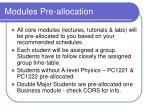 modules pre allocation