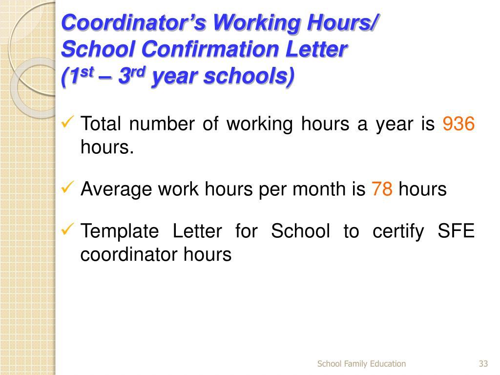 Coordinator's Working Hours/