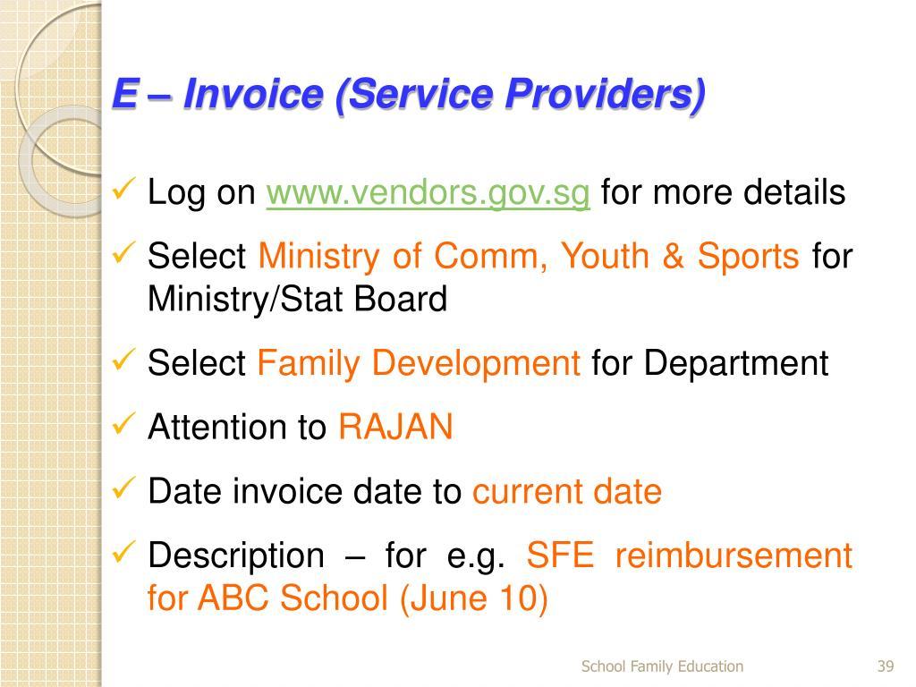 E – Invoice (Service Providers)