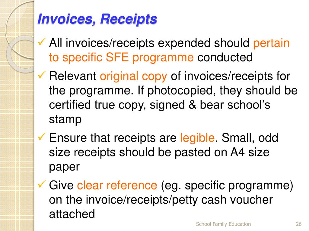 Invoices, Receipts