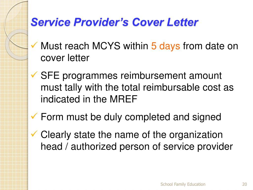 Service Provider's Cover Letter
