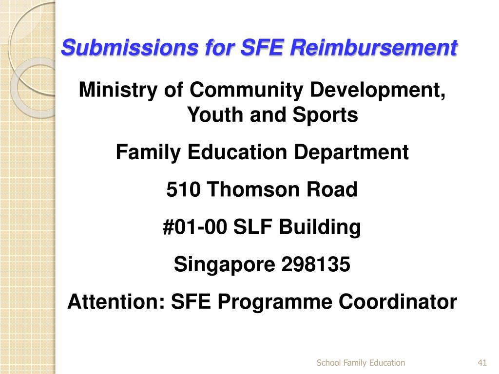 Submissions for SFE Reimbursement