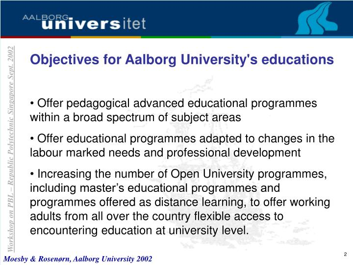 Objectives for Aalborg University's educations
