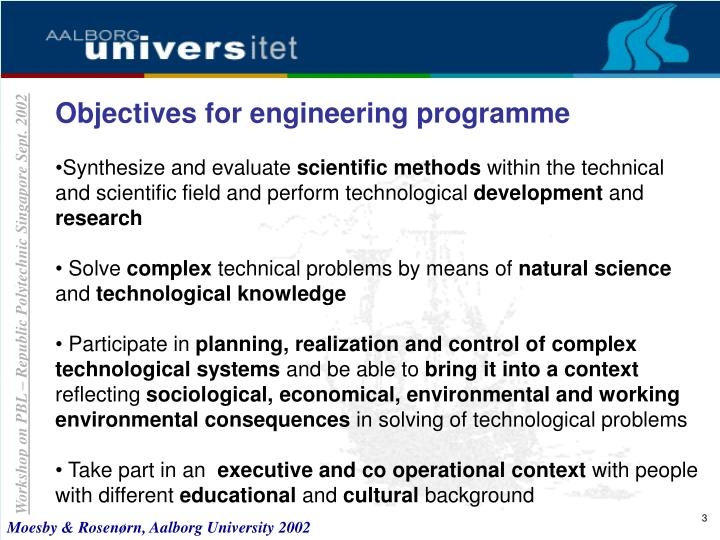 Objectives for engineering programme