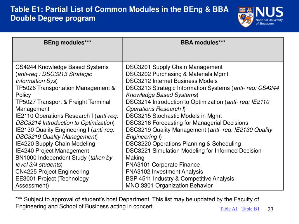 Table E1: Partial List of Common Modules in the BEng & BBA Double Degree program