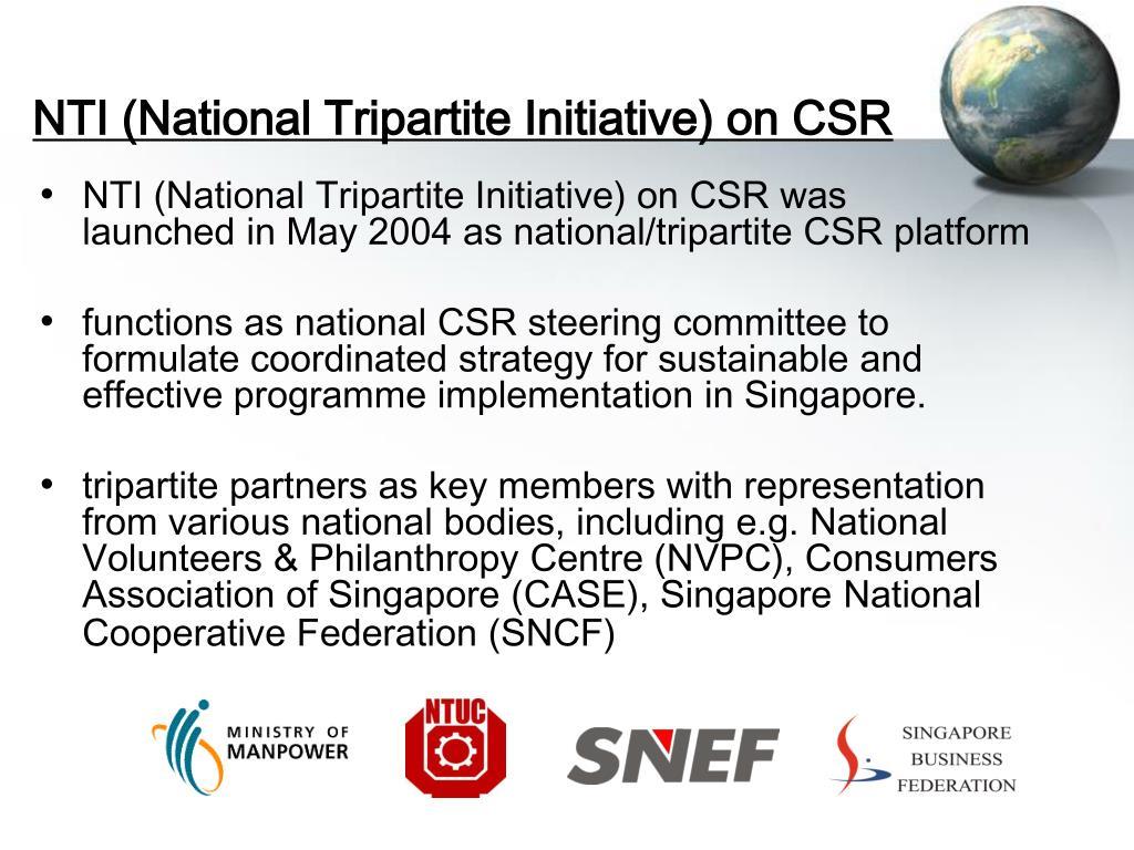 NTI (National Tripartite Initiative) on CSR