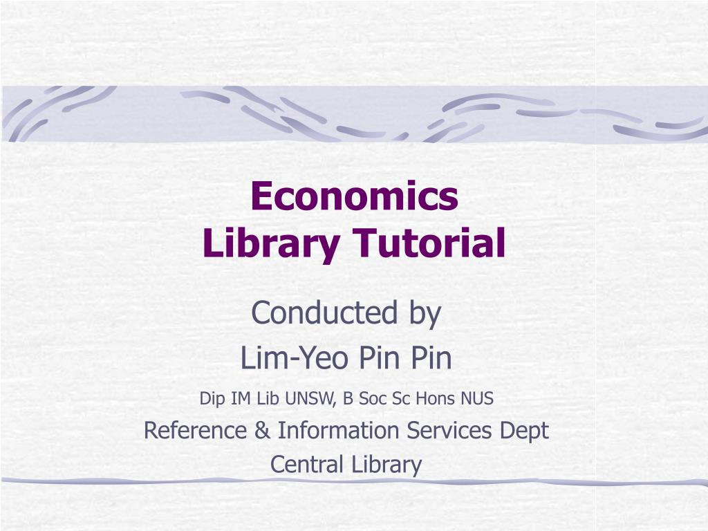 economics library tutorial